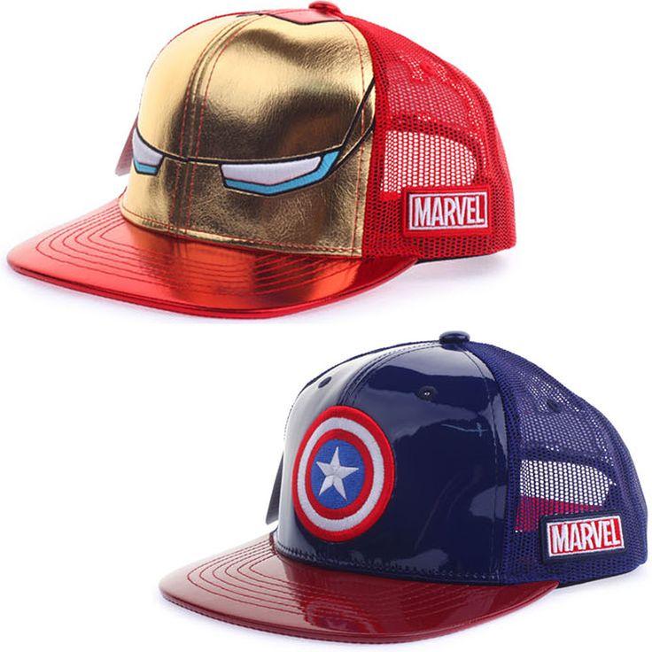 Mens Kids Marvel Avengers Civil War Ironman Captain America Mesh Snapback Hats #Marvel #BaseballSnapbackCapHats