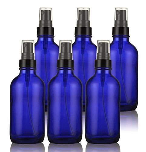 Glass Spray Bottles - Empty Spray Bottle with Atomizer Pumps - for Essential Oils, Travel, Perfumes , & More - Refillable & Reusable - Cobalt Blue Color - Protect Against UV Light - 6 Pack - 4 oz.:   Pack of 6 refillable blue glass spray mister bottles are durable and great to take on travels. Perfect for essential oil formulas, fragrances, cooking oils, hair solutions, beauty products, natural bug sprays, home made tanning oil, cleaning solutions, plant sprays, bathroom fresheners, DI...
