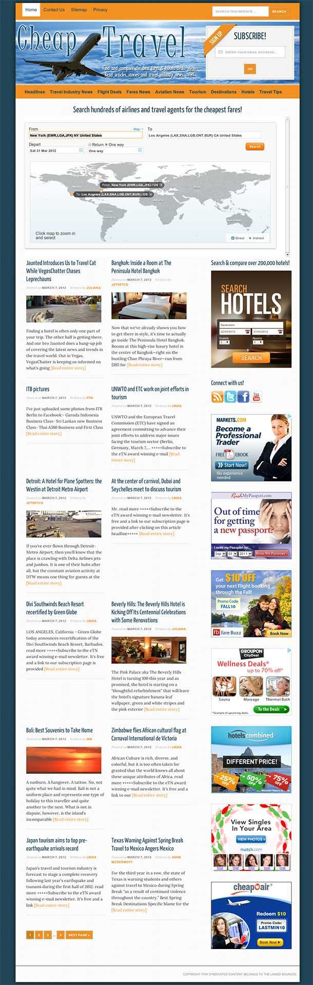 Travel (flights+hotels+news aggr.) website for sale! A great travel site in the highly lucrative flights/hotels search & compare niche. The site is in 'blog style' with entirely automated content. Main features: Brand new 'mobile responsive' theme (content and menus will look good on mobile devices). Great integration with Dohop (#1 in the industry) on every page. The integration is transparent so your visitors will think that your site is the actual flights search engine. See sale page to…