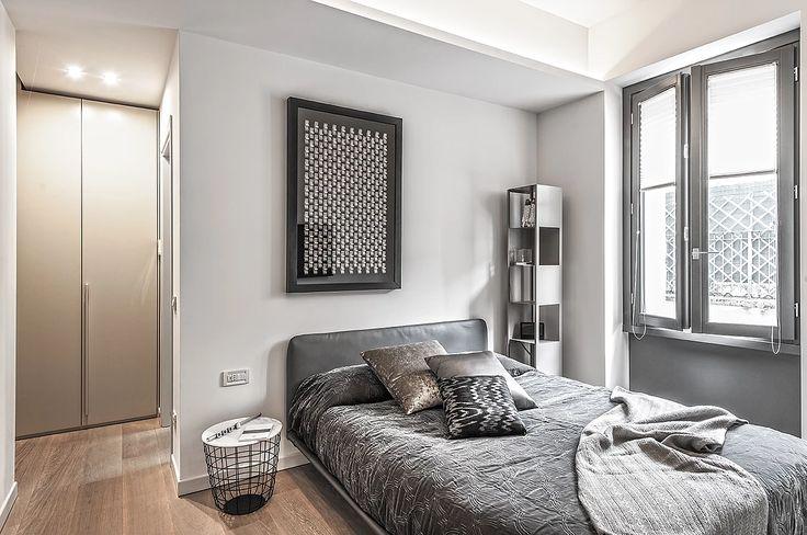 BRANDO concept  | camera da letto arredamento bedroom save space stile contemporaneo letto pelle grigio