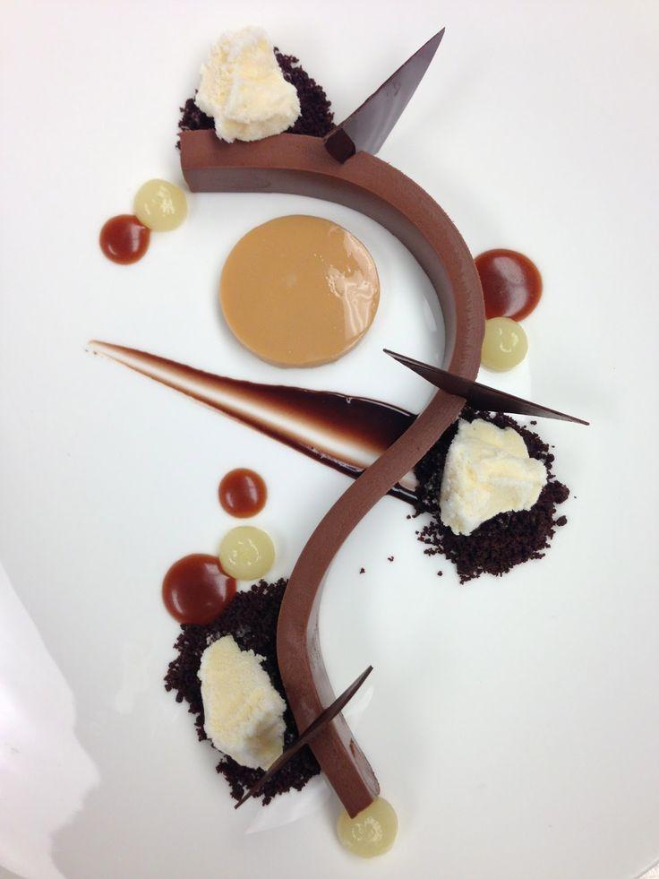 Pliable 70% ganache, chocolate crumble, caramel sauce, yuzu gel, caramel cream, chocolate sauce, chocolate plaques, calamansi sorbet