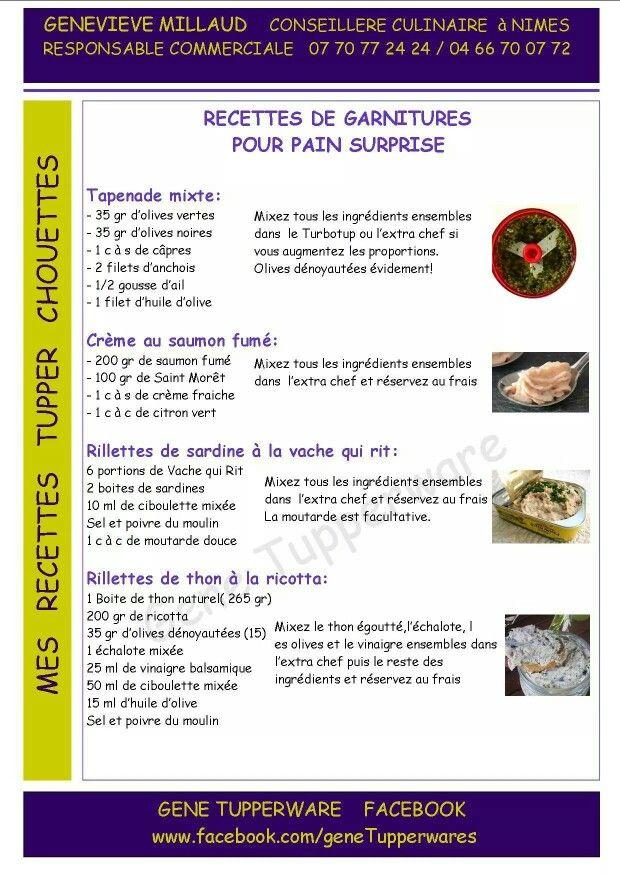 Recettes de garnitures pour pain surprise - tapenade mixte - crème au saumon fumé - rillettes de sardines à la vache qui rit - rillettes de thon à la ricotta - TUPPERWARE