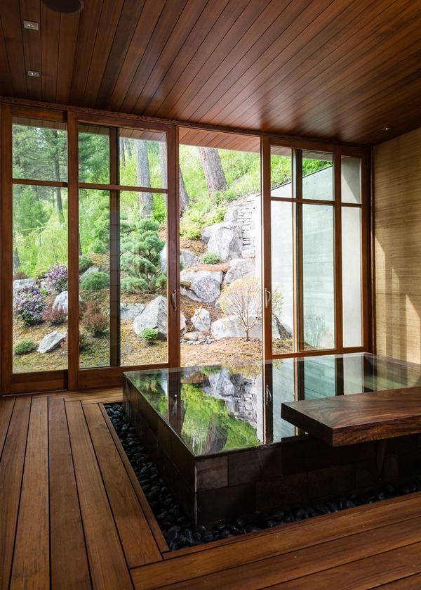 Bathroom:Japanese Bathroom With Rectangle Modern Soaking Tub Near Brown  Wood Flooring Ans Clear Glass