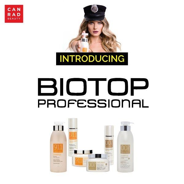 NEW TO CANRAD :  BIOTOP PROFESSIONAL - -- BIOTOP only uses the most natural ingredients in their products starting with water that has been purified in their laboratory. BIOTOP believes in developing products that do not contain harsh chemicals paraben sulfate or sodium chloride. BIOTOPs extensive line of products has something for everyones hair needs whether you have damaged fine curly or color-treated hair.