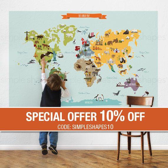 Mapa del mundo  Peel y cartel de palo etiqueta por SimpleShapes