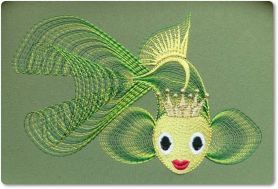 Gold fish free machine embroidery design. Machine embroidery design. www.embroideres.com