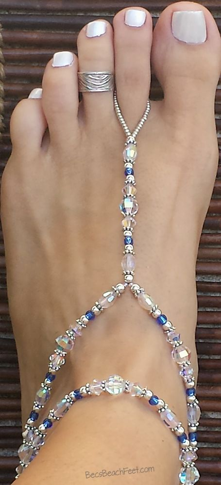 ♡ Sparkle the day or night away with this exquisite piece. Perfect for weddings or any dressy occasion. ✿ Foot Jewelry • Barefoot Sandals • Anklets • Bracelets