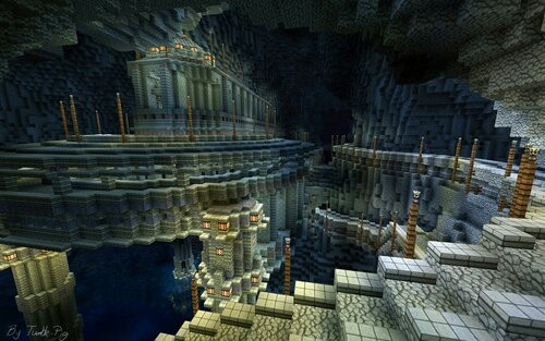 Cave Village Reminds Me Of Moria From LotR Minecraft