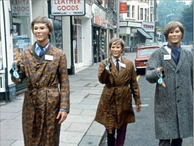 Autons in Ealing Broadway (from Doctor Who episode Spearhead From Space)