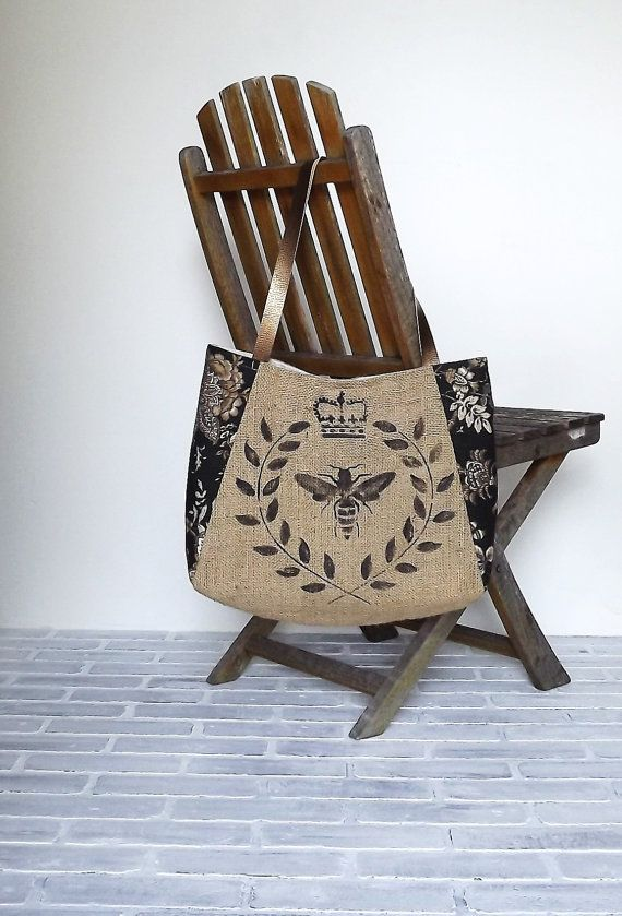 """BEATRICE"" handpainted BURLAP TOTE - burlap french floral in black / tan fabric with bronze leather straps"