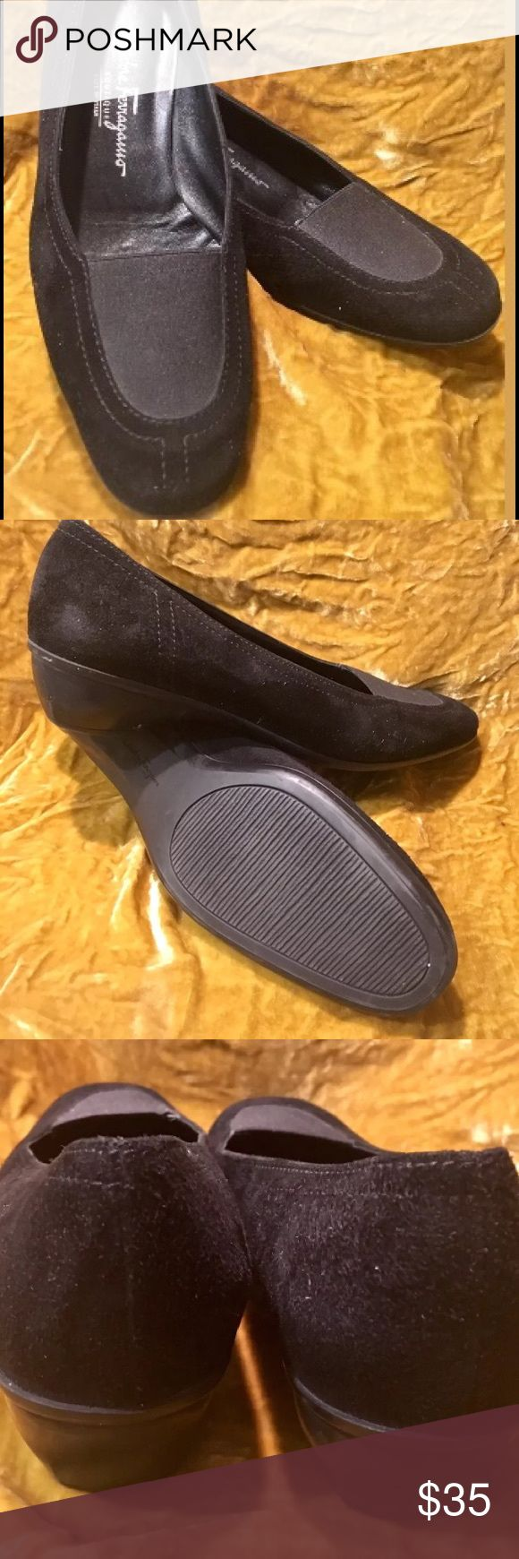 Salvatore Ferragamo Boutique black suede loafers Like new black suede moc split toe loafers by Salvatore Ferragamo Boutique. Made in Italy. Women's size 8 1/2 Salvatore Ferragamo Shoes Flats & Loafers