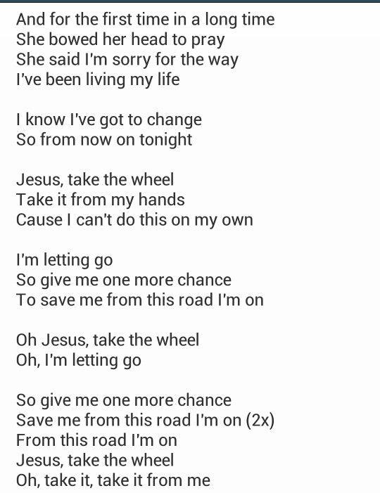 Carrie Underwood - Jesus Take The Wheel Lyrics
