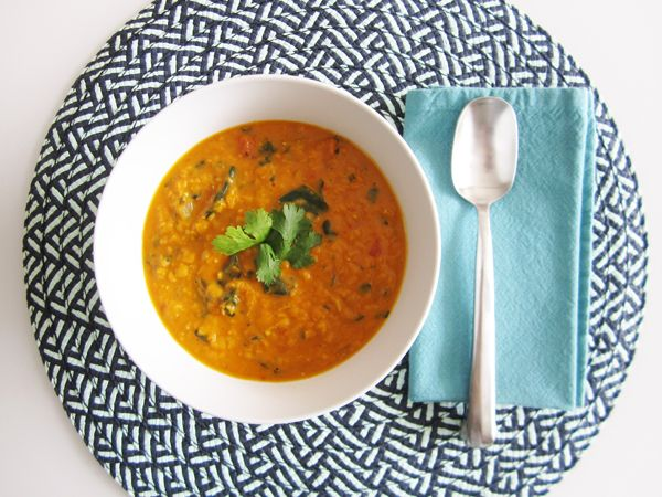 Vegan Coconut Curry Lentil Soup - I added 3 chopped carrots and omitted the diced tomatoes.