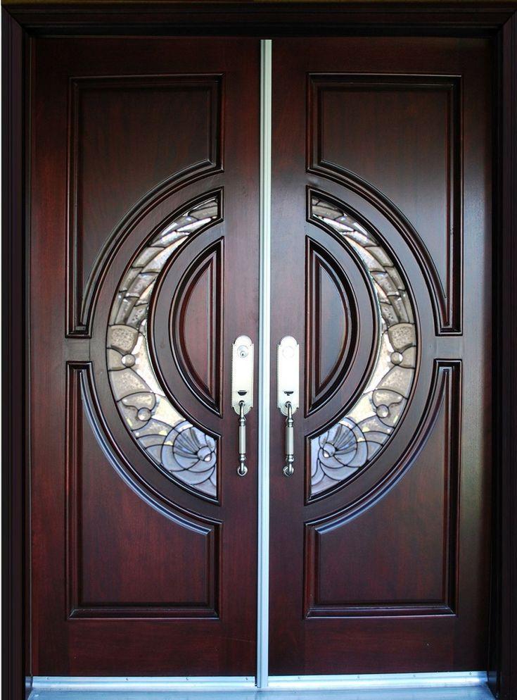Furniture. Awesome Beveled Glass Home Entry Doors Design Ideas. Appealing Modern Design Beveled Glass Home Entry Door comes with Red Mahogany Wood Door Frames and Doble Door With Metal Handles