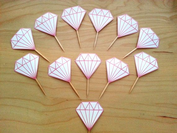 12 Pink Diamond Cupcake or Donut Toppers