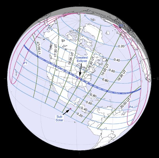 Total solar eclipse of August 21, 2017.  Chart via Fred Espenak / NASA.