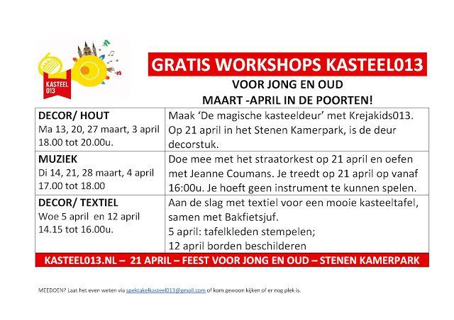Blog KASTEEL013: Gratis workshops KASTEEL013