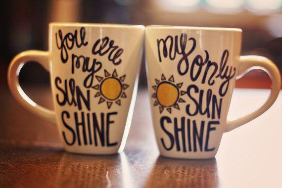 Mr. & Mrs./ You are My Sunshine Coffee Mugs by ModernMaundy, $19.50