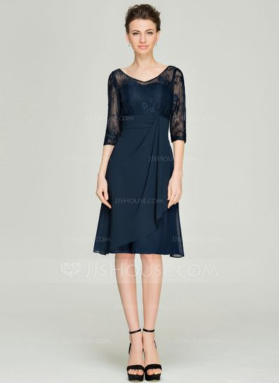 A-Line/Princess V-neck Knee-Length Chiffon Lace Mother of the Bride Dress With Cascading Ruffles (008062577)