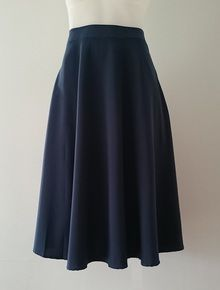 Victoria - midi-length navy/steel blue skirt, pockets!