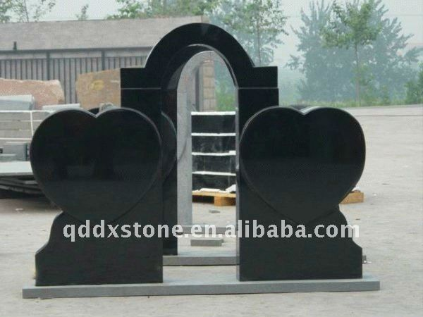 Double Heart Black Granite Headstone Buy Double Heart