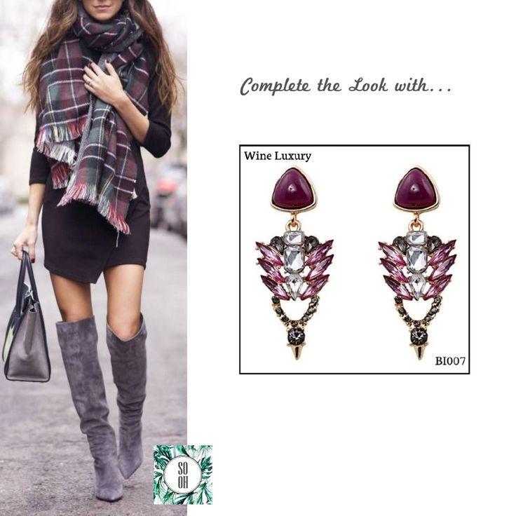 Ref: BI007 Wine Luxury Medidas: 5.9 cm x 2.4 cm  So Oh: 9.99 🌱 #sooh_store #onlinestore #style #inspiration #styleinspiration #brincos #earrings #fashion #shoponline #aw2016 #aw1617 #winterstyle