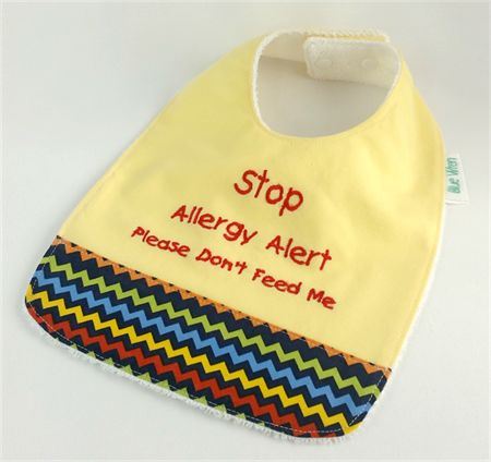 Allegy Alert Bib - Yellow and ZigZag Cotton Fabric, Soft BambooToweling Backed, Snap Fastened.