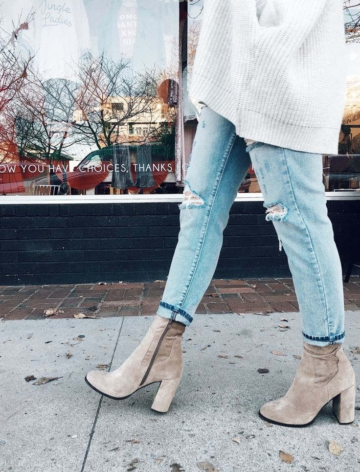 $100 Basic bootie. Cute high heeled shoe. zip-up bootie. tan/brown/grey bootie. above ankle bootie. go to shoe. fall shoes. closed-toed shoe.
