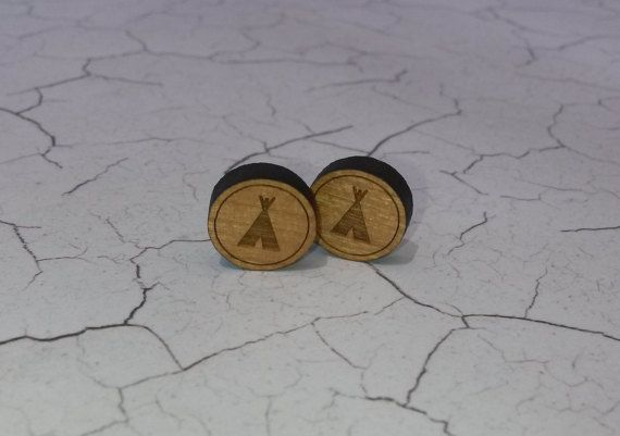 Quirky Tepee wooden earrings. by NixieNooDesigns on Etsy