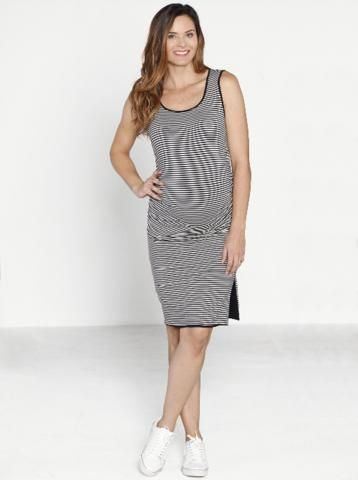 Reversible Tank Maternity Dress  in Black/ Stripes
