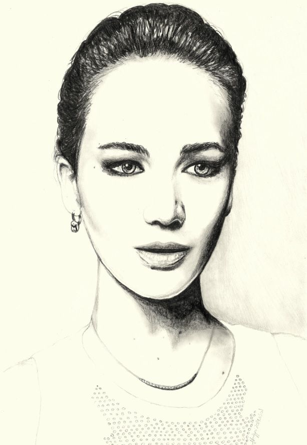 jennifer lawrence pencil portrait drawing