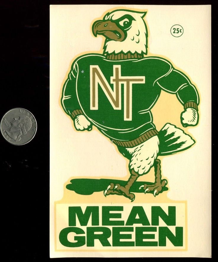 University Of North Texas Mean Green Vintage Souvenir Decal Nos