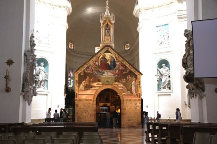 """Santa Maria degli Angeli, Assisi - Standing directly under the basilica's large dome, the Porziuncola (""""little portion"""")"""