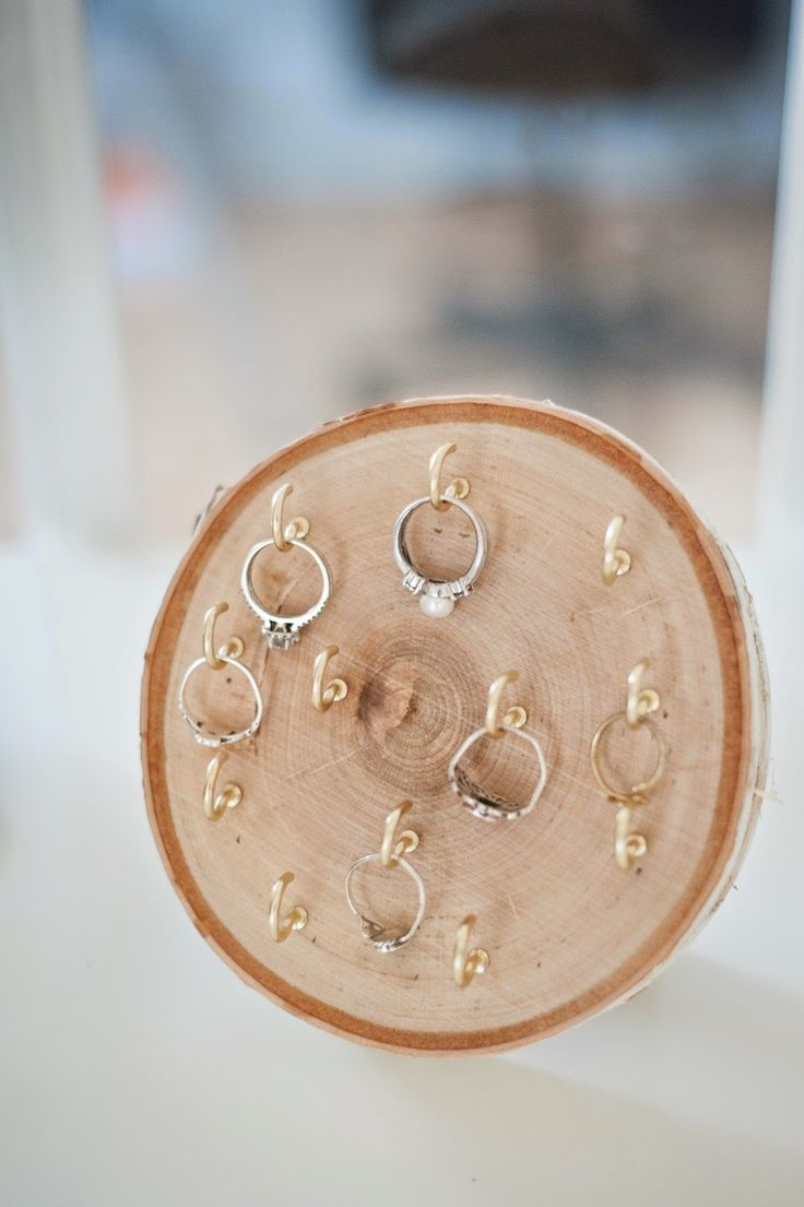DIY: wood round ring holder. If you use the hooks with the safety latch - it would help with #shoplifters