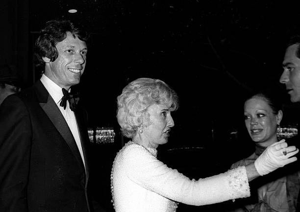 Fashion Designer Nolan Miller actress Barbara Stanwyck Candy Spelling and George Maharis attend 50th Anniversary Gala for Motion Picture and...