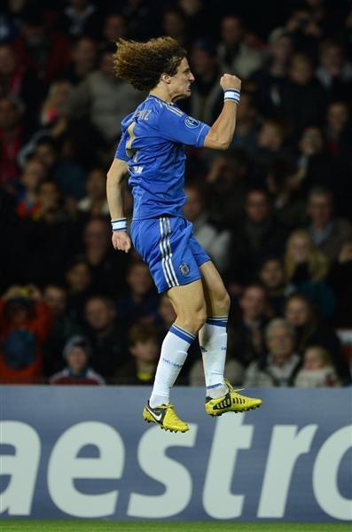 David Luiz celebrates a stunning free kick - FC Nordsjaelland 0-4 Chelsea FC