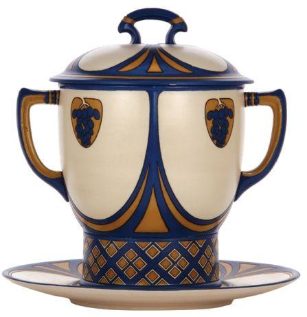 Mettlach punch bowl, Art Nouveau