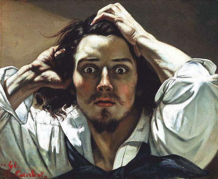"""C'est un autoportrait dit """"Le désespéré"""" de Gustave Courbet sous les traits d'un jeune homme qui regarde le spectateur avec désespoir. Le peintre se représente de face, en gros plan, la bouche entre-ouverte et le regard plongeant dans celui du spectateur. Ses yeux sont écarquillés et ses deux mains semblent s'arracher les cheveux. La pâleur du visage contraste avec la noirceur des cheveux et de la barbe."""