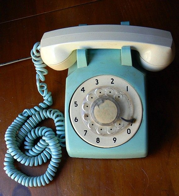 Vintage Telephone Blue Green and Beige Rotary Stromberg Carlson USA