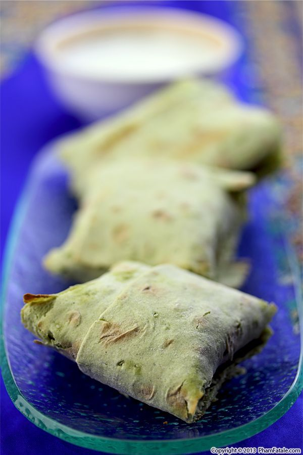 Lavash Spanakopita (Palak Paneer Purses)