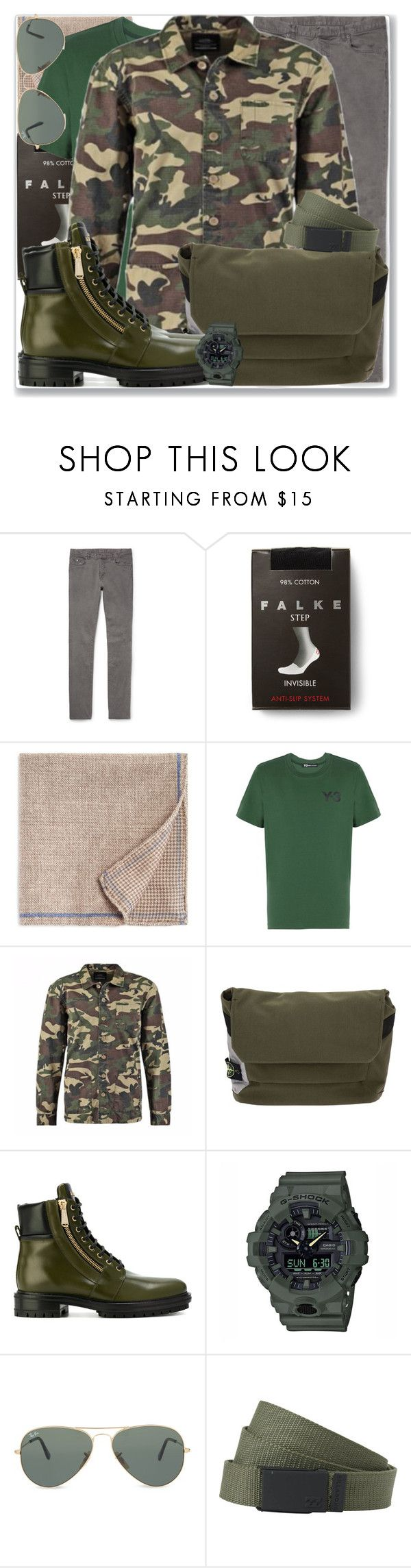 """""""Military Men 11.2"""" by rosalol ❤ liked on Polyvore featuring Maison Margiela, Falke, The Men's Store, Y-3, STONE ISLAND, Balmain, Casio, Ray-Ban and Billabong"""