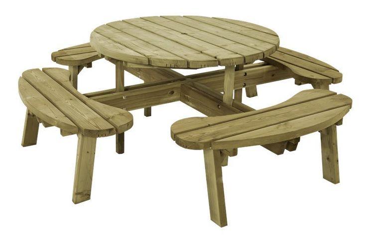 Table pique-nique rond Ø 118 cm en bois autoclave avec 4 bancs