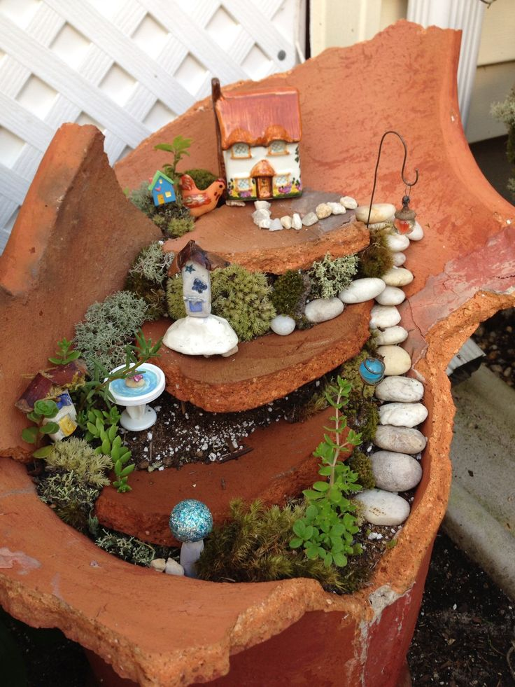 fairy garden broken pot, handmade accessories, bird bath from a painted button and a corn holder, tiny houses and gazing balls form clay, marble and wire. Bird house from a button I knew my button stash would come in handy one day