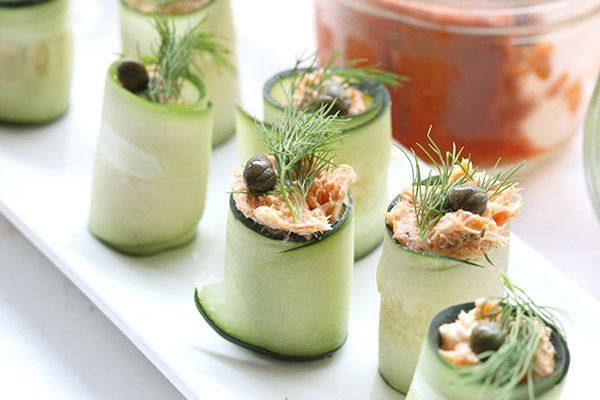 Low carb appetizer that will knock your socks off! Smoked salmon, cream cheese and cucumbers.