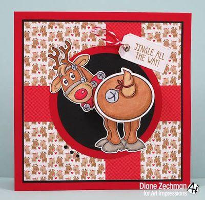 Art Impressions Rubber Stamps: Ai Shakers... Jingle Set (4681)... handmade Christmas card.  deer, rudolph, bells, wobble