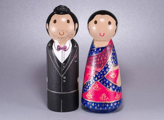 Traditional Wedding Wooden Peg Doll Cake Topper with 3D Accessories - Ao Dai Lehenga Sari
