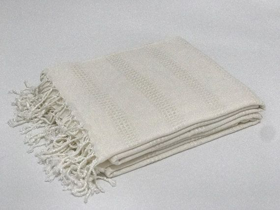 Ivory Turkish Towel Hammam Towel Peshtemal Beach Towel Turkish