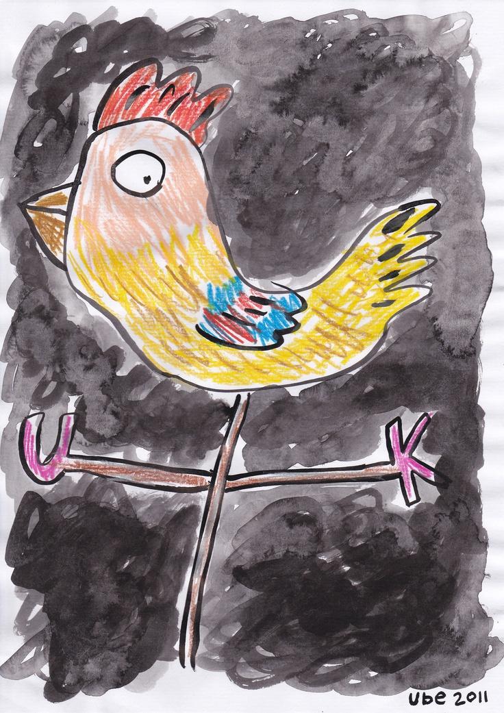ayam penunjuk arah,tinta cina dan pensil warna di atas kertas A4,2011. (ube)