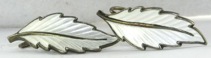 VTG 830S 830 SILVER NORWAY HANS MYHRE-BERNARD MELDAH WHITE ENAMEL LEAF EARRINGS #HANSMYHREBERNARDMELDAH