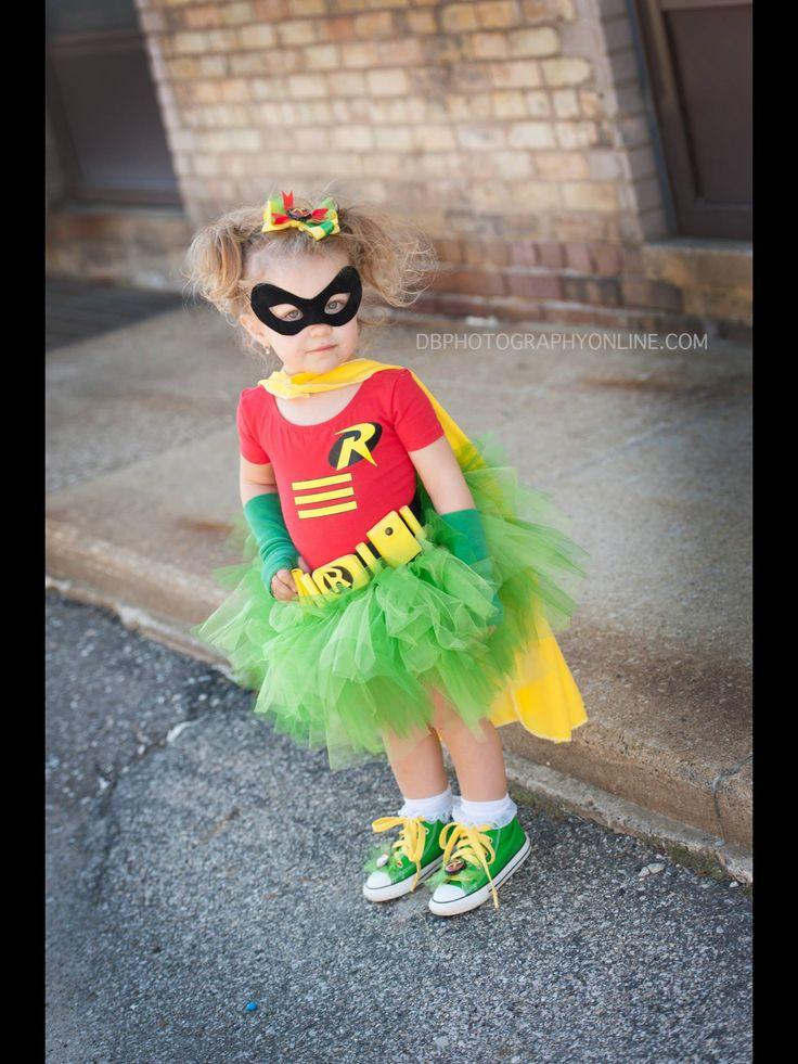 Toddler girl halloween costume idea superhero Batman and Robin